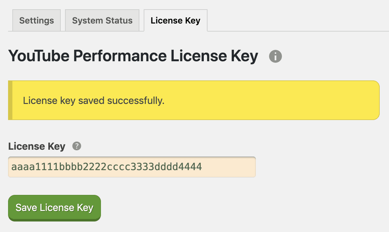 YouTube Performance license key settings